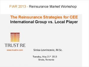 FIAR 2013 Reinsurance Market Workshop The Reinsurance Strategies