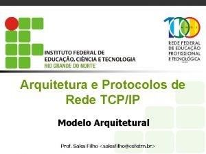 Arquitetura e Protocolos de Rede TCPIP Modelo Arquitetural