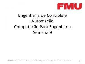 Engenharia de Controle e Automao Computao Para Engenharia