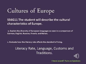 Cultures of Europe SS 6 G 11 The