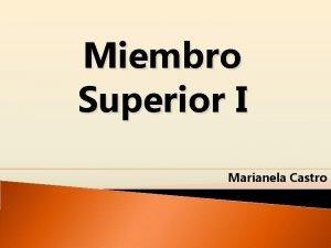 Miembro Superior I Marianela Castro Osteologa de Miembro