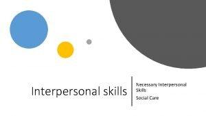 Interpersonal skills Necessary Interpersonal Skills Social Care In