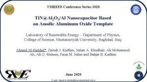 TMREES Conference Series 2020 Ti NAl 2 O