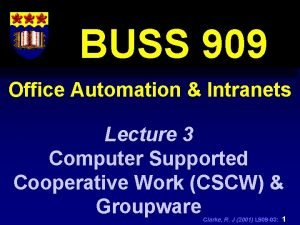 BUSS 909 Office Automation Intranets Lecture 3 Computer