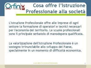 Cosa offre lIstruzione Professionale alla societ LIstruzione Professionale