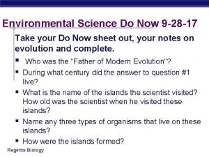 Environmental Science Do Now 9 28 17 Take