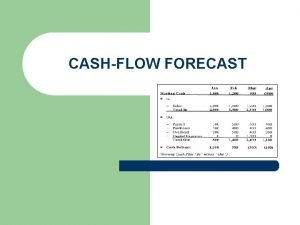 CASHFLOW FORECAST Learning Objectives l l l Learners