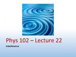 Phys 102 Lecture 22 Interference 1 Physics 102