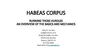 HABEAS CORPUS RUNNING THOSE HURDLES AN OVERVIEW OF