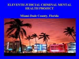 ELEVENTH JUDICIAL CRIMINAL MENTAL HEALTH PROJECT MiamiDade County