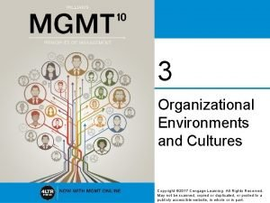 3 Organizational Environments and Cultures Copyright 2017 Cengage