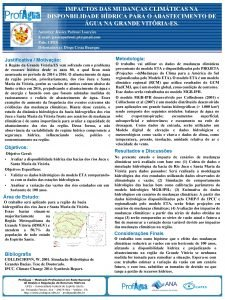 IMPACTOS DAS MUDANAS CLIMTICAS NA DISPONBILIDADE HDRICA PARA