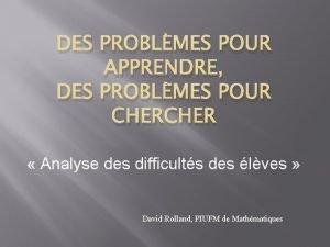 DES PROBLMES POUR APPRENDRE DES PROBLMES POUR CHER