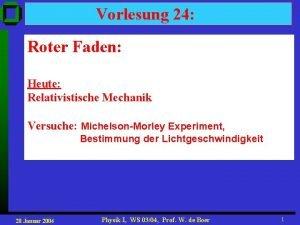 Vorlesung 24 Roter Faden Heute Relativistische Mechanik Versuche