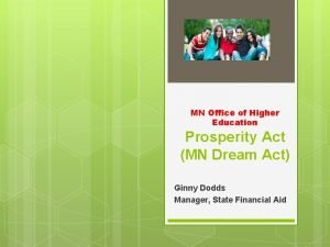MN Office of Higher Education Prosperity Act MN