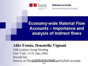 National accounts Environmental accounts Economywide Material Flow Accounts