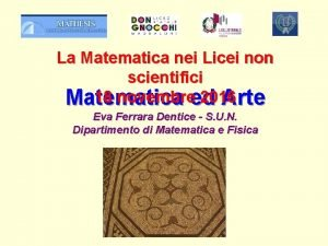 La Matematica nei Licei non scientifici 18 novembreed