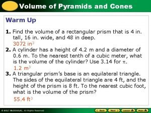 Volume of Pyramids and Cones Warm Up 1