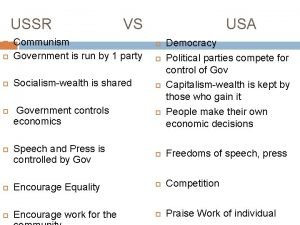 USSR VS USA Communism Government is run by