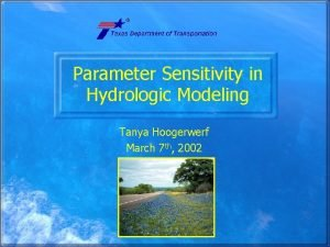 Parameter Sensitivity in Hydrologic Modeling Tanya Hoogerwerf March