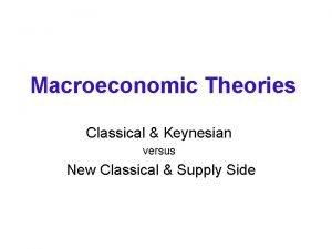 Macroeconomic Theories Classical Keynesian versus New Classical Supply