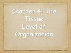 Chapter 4 The Tissue Level of Organization 4