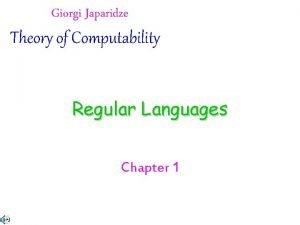 Giorgi Japaridze Theory of Computability Regular Languages Chapter