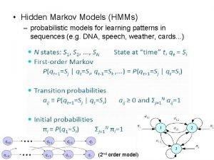 Hidden Markov Models HMMs probabilistic models for learning
