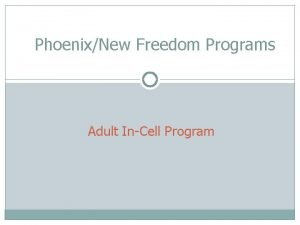 PhoenixNew Freedom Programs Adult InCell Program Adult InCell