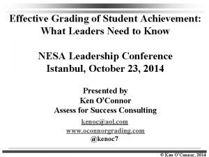 Effective Grading of Student Achievement What Leaders Need