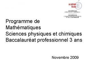 Programme de Mathmatiques Sciences physiques et chimiques Baccalaurat