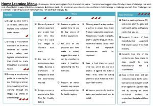 Home Learning Menu Choose your home learning tasks
