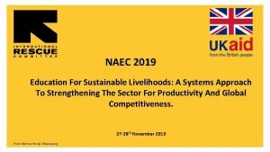 NAEC 2019 Education For Sustainable Livelihoods A Systems