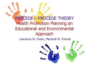 PRECEDE PROCEDE THEORY Health Promotion Planning an Educational