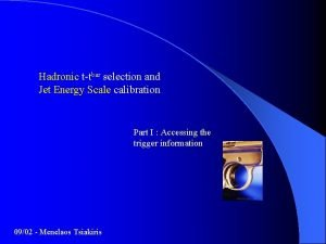 Hadronic ttbar selection and Jet Energy Scale calibration