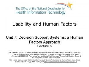 Usability and Human Factors Unit 7 Decision Support