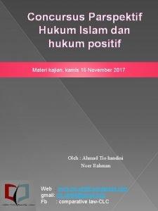 Concursus Parspektif Hukum Islam dan hukum positif Materi