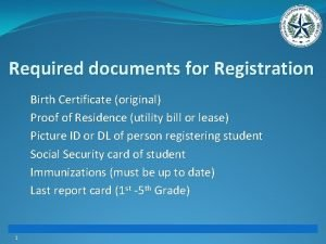 Required documents for Registration Birth Certificate original Proof