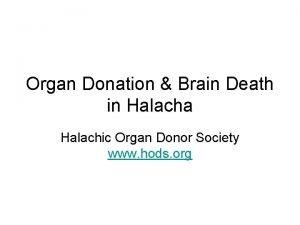 Organ Donation Brain Death in Halacha Halachic Organ