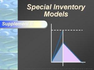 Special Inventory Models Supplement E To Accompany Krajewski