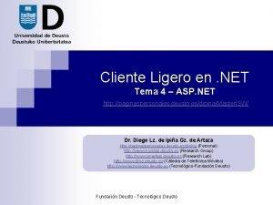Cliente Ligero en NET Tema 4 ASP NET