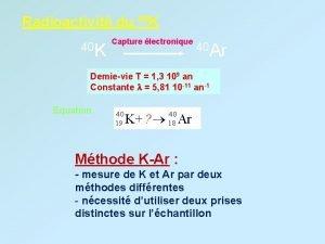Radioactivit du 40 K Capture lectronique 40 Ar