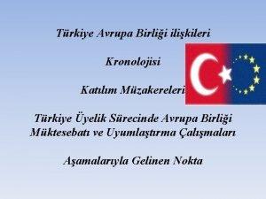 Trkiye Avrupa Birlii ilikileri Kronolojisi Katlm Mzakereleri Trkiye