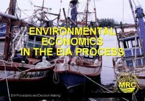 ENVIRONMENTAL ECONOMICS IN THE EIA PROCESS EIA Procedures
