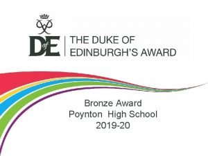 Bronze Award Poynton High School 2019 20 Bronze