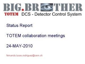Status Report TOTEM collaboration meetings 24 MAY2010 fernando