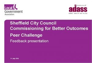 Sheffield City Council Commissioning for Better Outcomes Peer