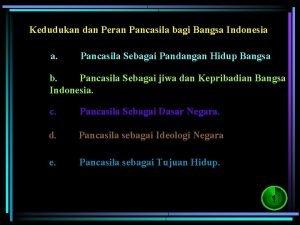 Kedudukan dan Peran Pancasila bagi Bangsa Indonesia a