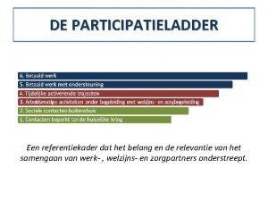 DE PARTICIPATIELADDER Een referentiekader dat het belang en