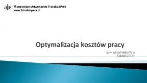 Konsorcjum Adwokackie TrzoskaPela www trzoskapela pl Optymalizacja kosztw